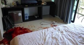 Police discovered pools of blood inside the man's room on the third floor of the hotel. Photo: Eakkapop Thongtub