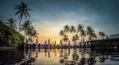 Sunset view from the lagoon pool at JW Marriott Khao Lak Resort & Spa